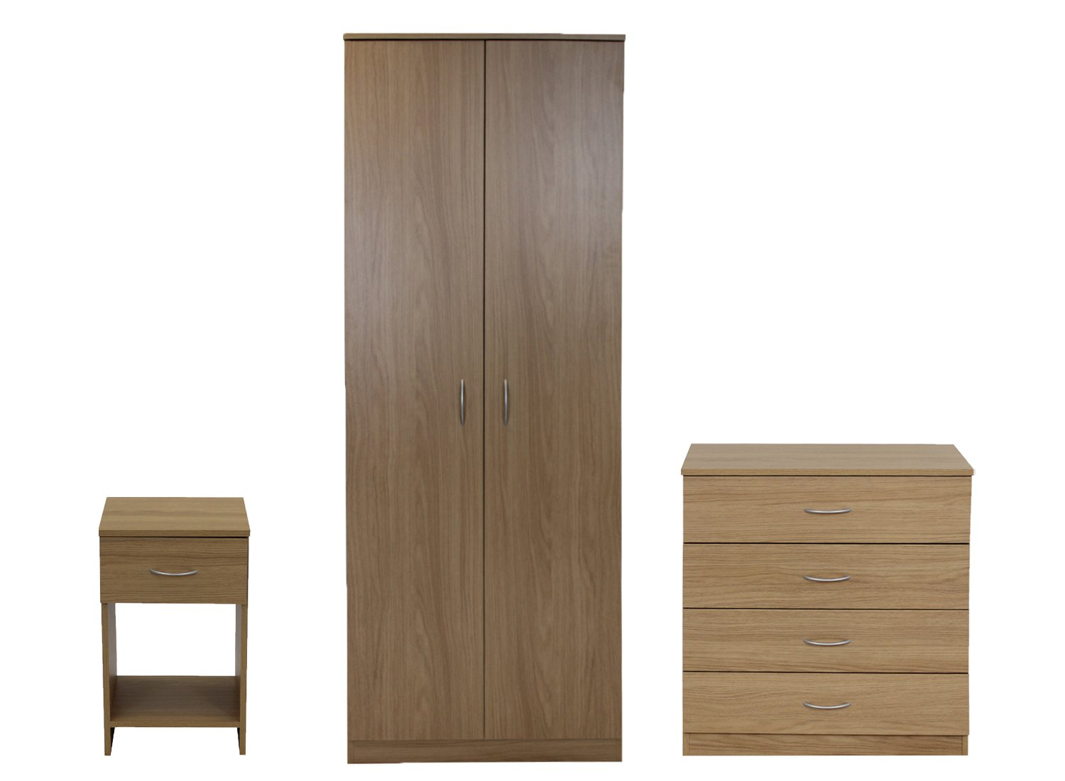 Devoted2Home Boldon Bedroom Furniture Set with Wardrobe/4-Drawer Chest/Bedside Cabinet, Wood, Black, 49.8 x 66.8 x 180 cm, 3-Piece AA180901BO2