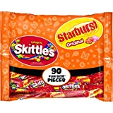Skittles and Starburst Original Candy Bag, 90 Fun Size Pieces, 39.1 ounces