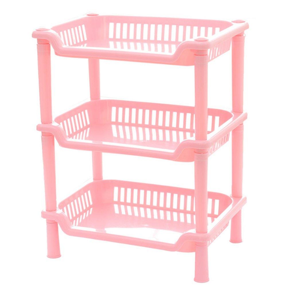 Topbeu 3-Tier Square Bathroom Shelf Corner Shelf Organizer Bathroom Kitchen Storage Rack Holder (Pink)