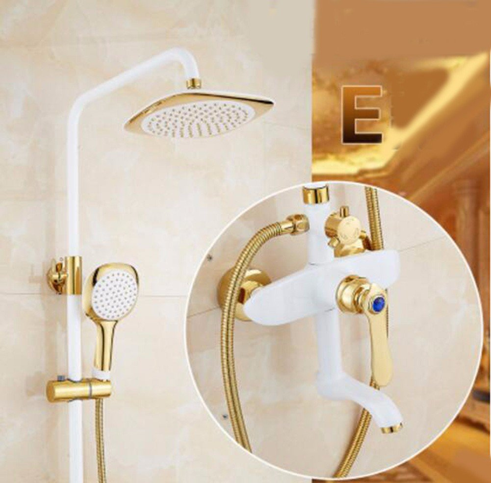 E Shower set Grilled White Paint Shower Shower Set Retro European gold Copper Plated Bathroom Shower Faucet Water Mixing Valve,B