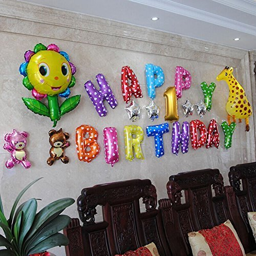 Simple Birthday Decorations At Home: Fecedy Happy Birthday Balloons,Colorful,Party Decoration