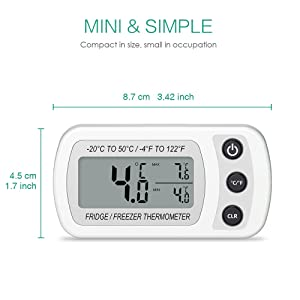 ORIA Digital Refrigerator Thermometer, Mini Freezer Thermometer, Refrigerator Freezer Waterproof, LCD Display, Max and Min Record, for Kitchen, Home, Restaurants, Bars, White