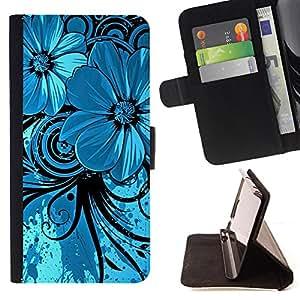 - Silver Blue Floral Tribal Hawaii - Estilo PU billetera de cuero del soporte del tir???¡¯????n [solapa de cierre] Cubierta- For Sony Xperia Z1 Compact D5503 £š Devil Case £©
