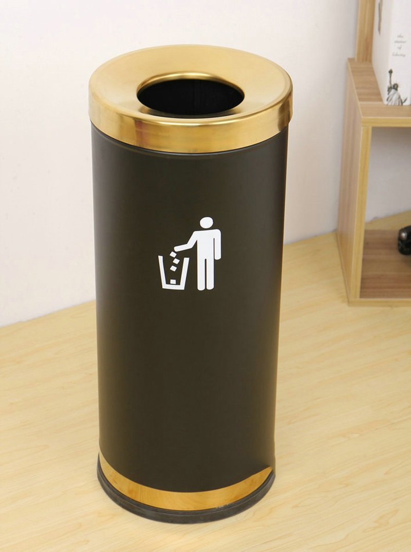 Hotel Trash Cans Stainless Steel Round Peel Bucket With Ashtray Dragonmys UK