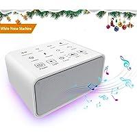 White Noise Machine, MANLI Machine de Bruit Blanc Appareil de Sommeil Thérapie Sonore 8 Sons Naturels Bouton Tactile Avec LED Veuilleuse Fonction de Mémoire Rechargeable USB pour Bébés, Adultes, Ages