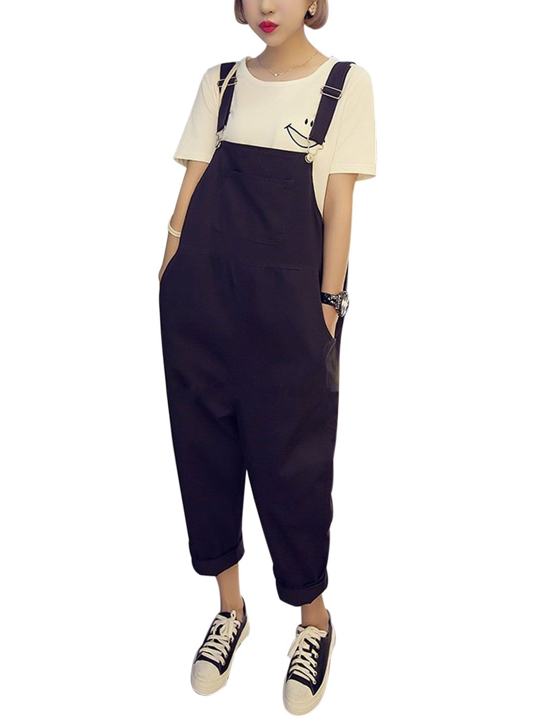 Yeokou Women's Loose Baggy Cotton Wide Leg Jumpsuit Rompers Overalls Harem Pants (Medium, Black)