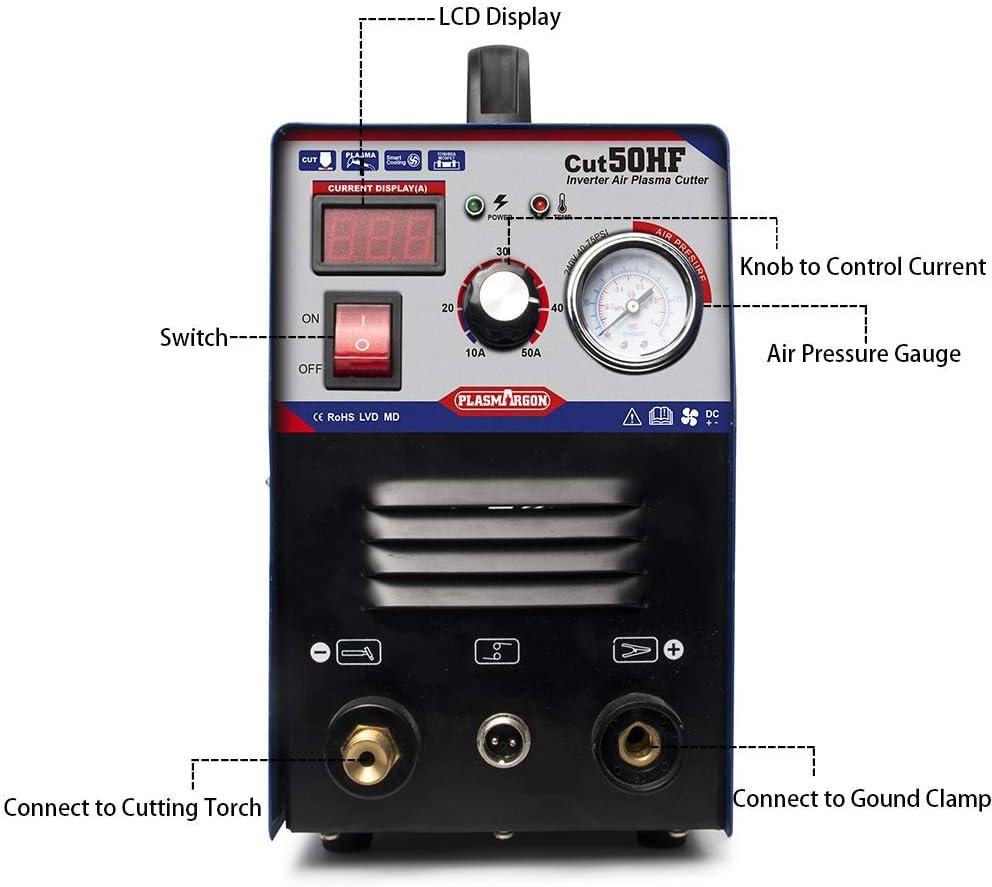 220 V mit Zubeh/ör Plasmaschneider CUT50 mit Hochfrequenz-IGBT-Technologie zum Schneiden von bis zu 14 mm Plasmaschneider 50 Amp