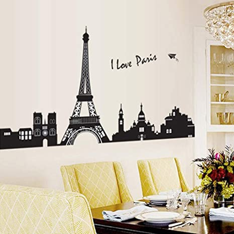 Amazon.com: Pegatinas de pared, diseño de torre Pvc Tour Art ...