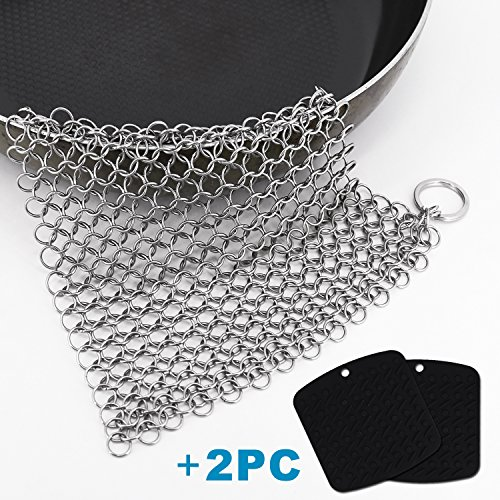 scrubbing brushes,Cast Iron Cleaner 8 x 6 Inch 316L Stainless Steel Chainmail Scrubber with 2 Pack Silicone Trivet Mat Cast Iron Steel Trivet