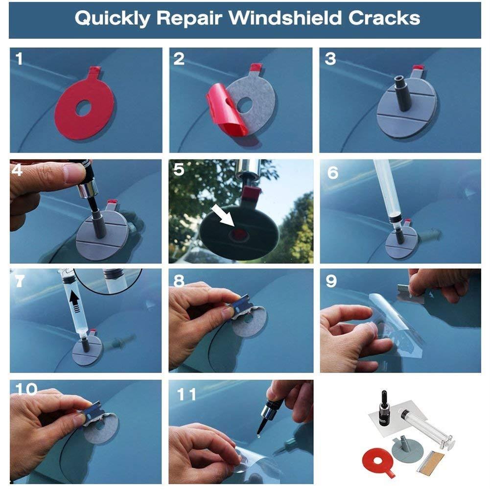 Parkomm Auto Parabrisas Kit de reparación, Juego de reparación de Parabrisas Auto Cristal DIY Tools Juego de reparación para Chips y Grietas, ...