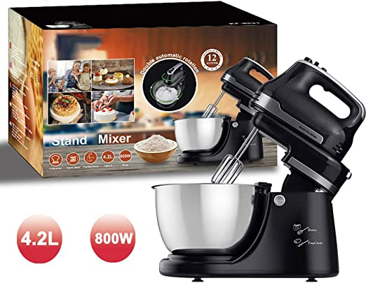 KXMYT Robot Batidora, Robot De Cocina Batidora Amasadora Repostería, 4.2L De Acero Inoxidable Bowl, 800W, 5 Velocidades, Negro, 14.2X14.2X9.4Inch: Amazon.es