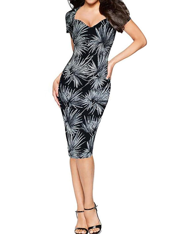 SaiDeng Elegant Damen Kleider Formal Bleistift-Kleid Ethnische Stil Blumen Bedruckt Business-Kleid Abendkleid Cocktailkleid Schwarz