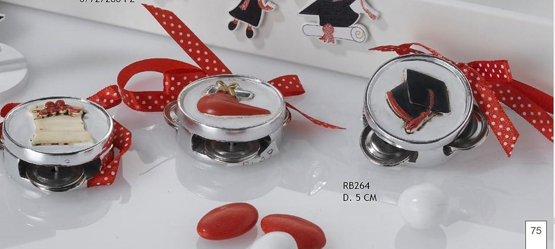 Super oferta 45 piezas Pandereta graduación de 5 cm con cinta bomoboniera