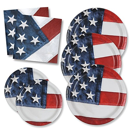 (Patriotic Plates Party Pack for 50 Guests; 50 Patriotic Dinner Plates, 50 Patriotic Dessert Plates and 100 Patriotic Luncheon Napkins by Gift Boutique MADE IN THE USA!)