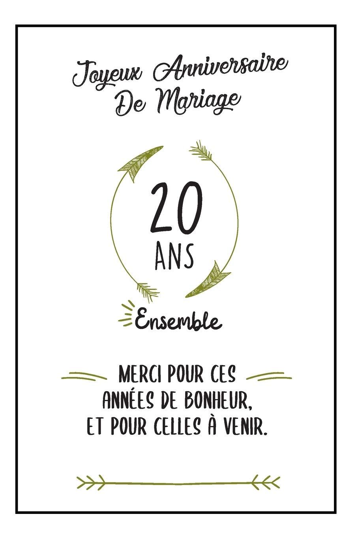 Joyeux Anniversaire De Mariage Carnet Idée Cadeau Noces De Porcelaine Pour Femme Pour Homme 20 Ans Ensemble Amazon Com Br