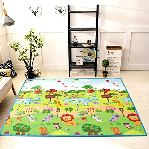 Play mat baby Care XPE Foam Floor Gym Slip thickening Reversible Waterproof playmat Portable double sides Kids Baby Toddler Outdoor or Indoor Use(Forest, 59x70x0.8in) - Kid Baby Playmat