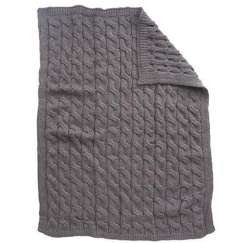 Koala Baby Chunky Cable Knit Blanket - Gray