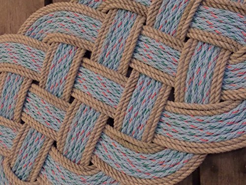 """34"""" x 15"""" Rope Rug Doormat Rope Rug Tightly Knotted Handmade Made in Alaska Light Blue with Silver Trimmed Accent"""
