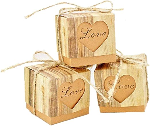 25 x Burlap Favor Bags Cotton Lace Wooden Love Heart Wedding Christening Party
