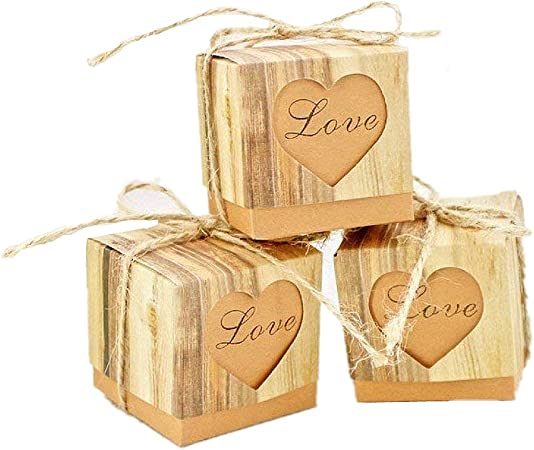JZK 50 x LOVE corazón, boda rústica papel caja favor caja favores pequeña caja regalo para boda cumpleaños fiesta bienvenida bebé bautizo graduación fiesta navidad caja dulces: Amazon.es: Hogar