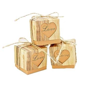 JZK 50 x LOVE corazón, boda rústica papel caja favor caja favores pequeña caja regalo