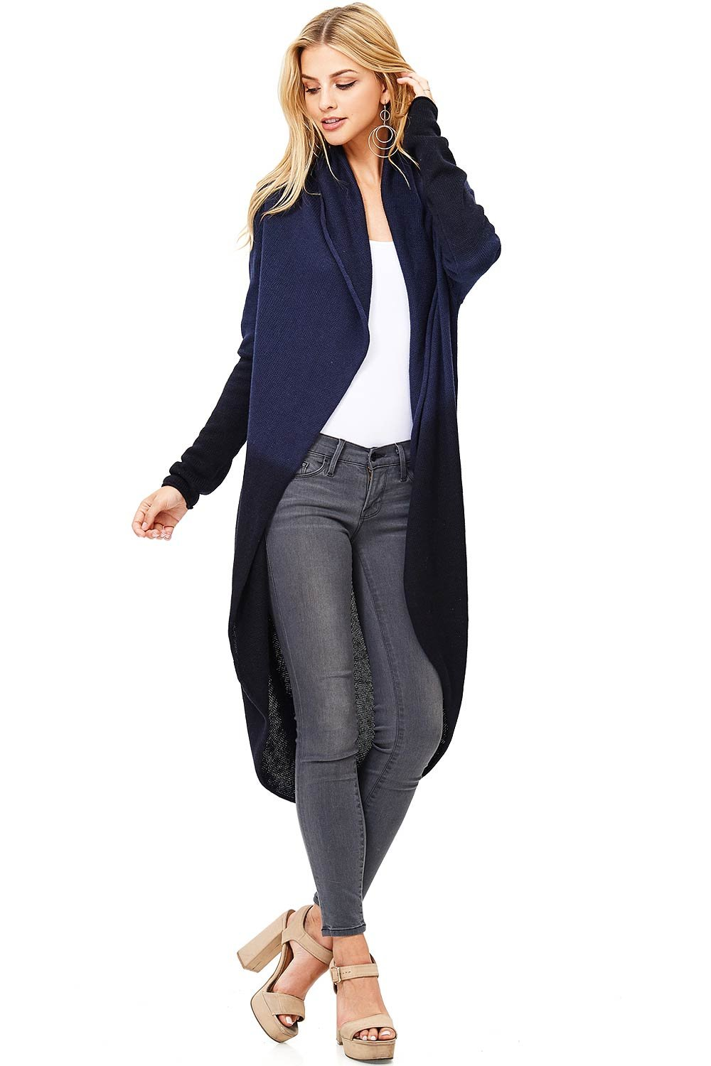 Love Stitch Women's Two Tone Knit Oversize Cardigan (L, Navy)