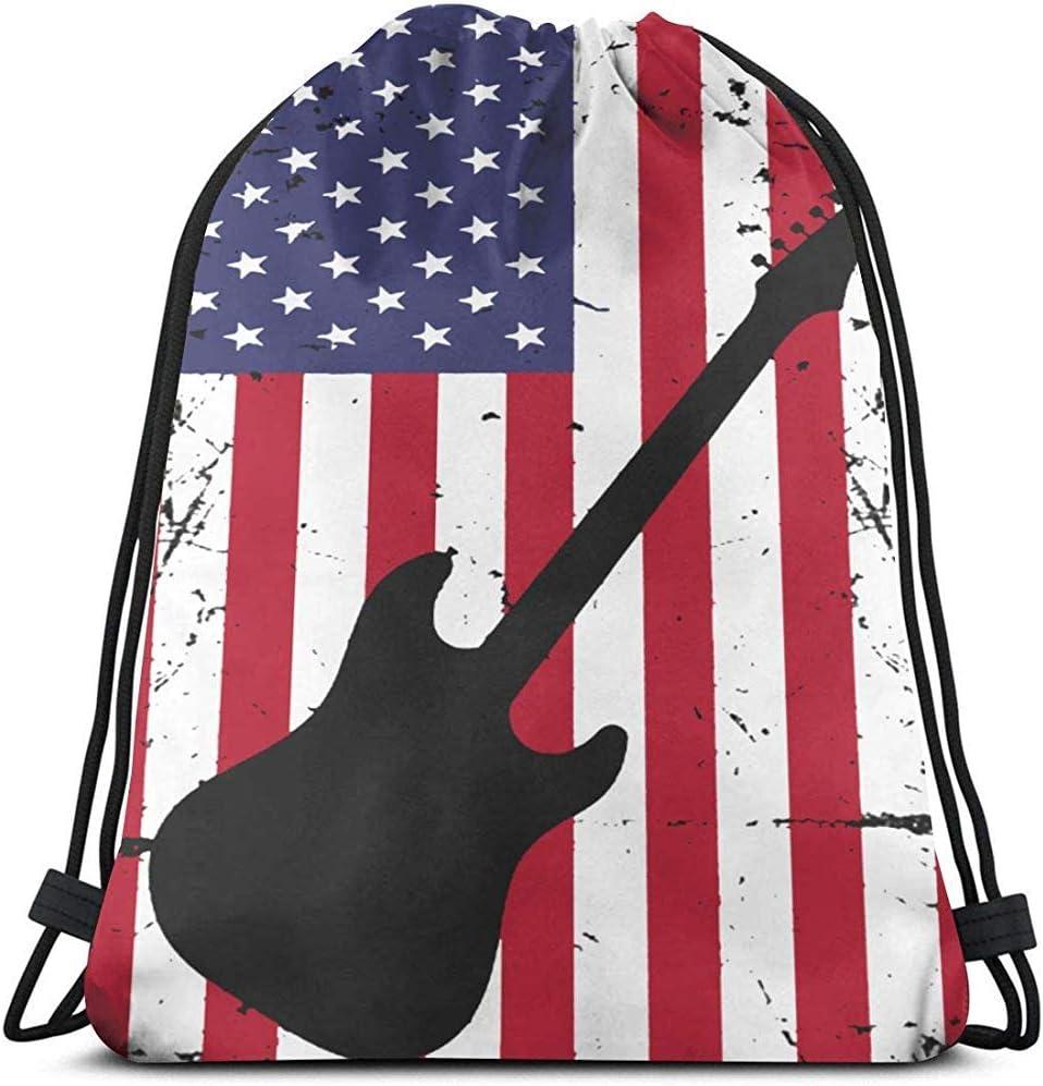 Lemotop Guitarra Bandera Americana Mochila con cordón Ligera Mochila Gimnasio Cinch Bag para Viajar en el Gimnasio
