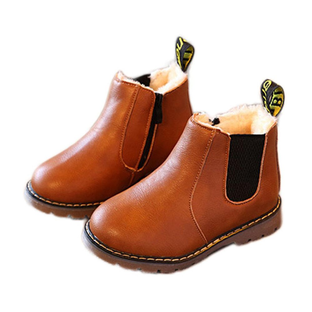 AutumnFall Kids Shoes Boys Girls Winter Snow Warm Ankle Retro Martin Boots Zipper Chelsea Shoes (Age:8-9T, Brown)