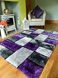 new modern purple silver black thick heavy silky soft luxurious shaggy living area bedroom rug non