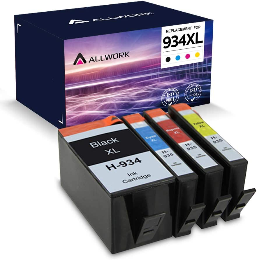ALLWORK Remanufactured 934 XL 935 XL Ink Cartridge Replacement for HP 934XL 935 XL 934 935 (Black Cyan Magenta Yellow 4Pack) for use in HP OfficeJet Pro 6830 6835 6230 6220 6812 6815 6820 6810 Printer