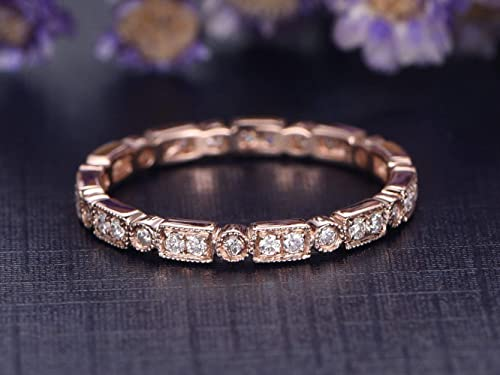 14K Yellow Gold Diamond Pave Band Wedding Band Anniversary Band Engagement Band Stackable Band Art Deco Band Antique White Gold Rose Gold