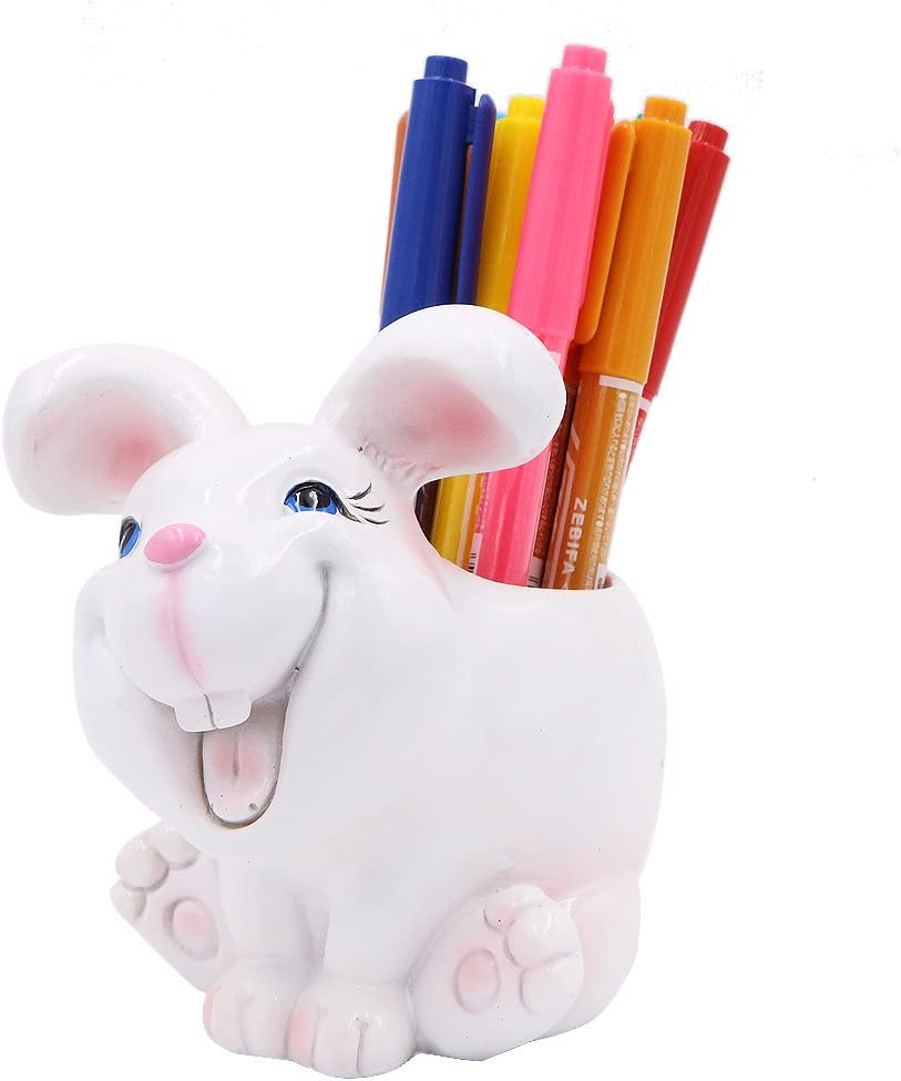 Exquisite Cute Resin Animal Pen Pencil Holder Storage Box Desk Organizer Accessories (Rabbit)