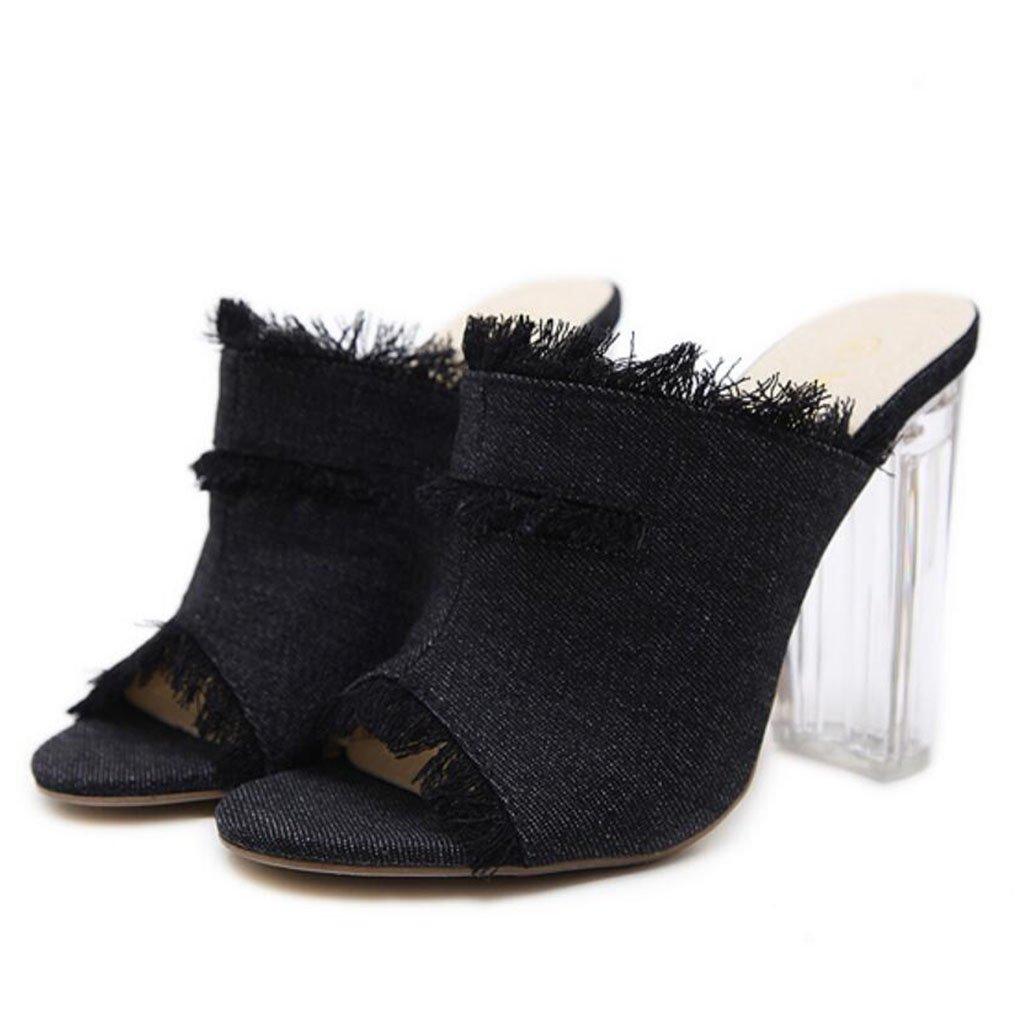 GAOLIXIA Sandalias Peep Toe de las mujeres Zapatillas de borla de la borla de verano Zapatillas de tacón alto de moda de cristal (Color : Negro, tamaño : 35) 35 Negro