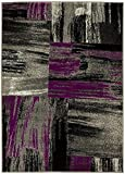 PR ABSTRACT MODERN CONTEMPORARY MIXED COLORS PATTERNS DESIGN AREA RUG CARPET . PURPLE AND GREY (8 Feet X 10 Feet) Review
