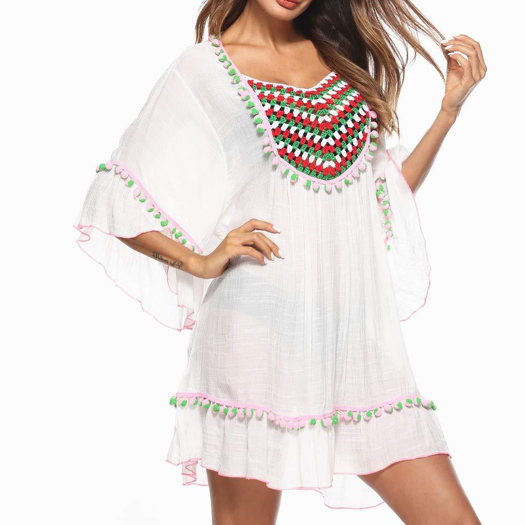 QinMM Pareo Playa Mujer Corto Verano Protector Solar Bikini Cover up Bohemio Pareos Vestido Playa Mujer Hawaiano Trajes de ba/ño