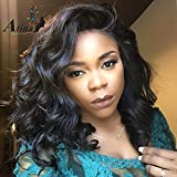 Atina Queen Hair 180 density Brazilian Virgin Human Hair Body Wave 180% Density Lace Front Wigs with Baby Hair Shoulder Length Wigs Glueless Short Bob Wigs for Black Women 14inch ON SALE
