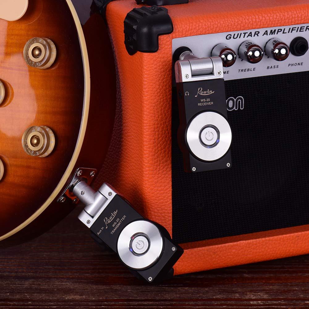 Noir Festnight /Émetteur et R/écepteur 2.4G Sans Fil Rechargeable pour Guitares Basses Electriques Instruments Musiques