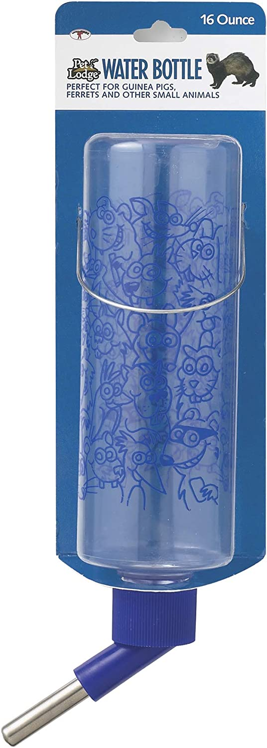 LITTLE GIANT Small Animal Cage Water Bottle - Pet Lodge - Clear Water Bottle, Great for Indoor Use (16 oz.) (Item No. CPB16)