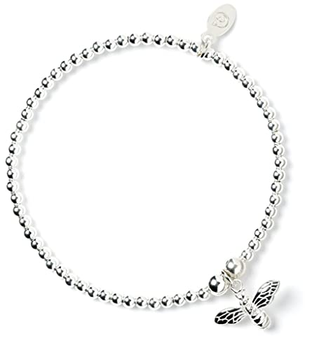 Sterling Silver 'Rice & Noodle' Ball Bead Bracelet with Bumble Bee Charm WogwvOGeGZ