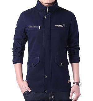 YDKZM Mens Long Sleeve Windbreaker Full Zip Trench Coat Jacket