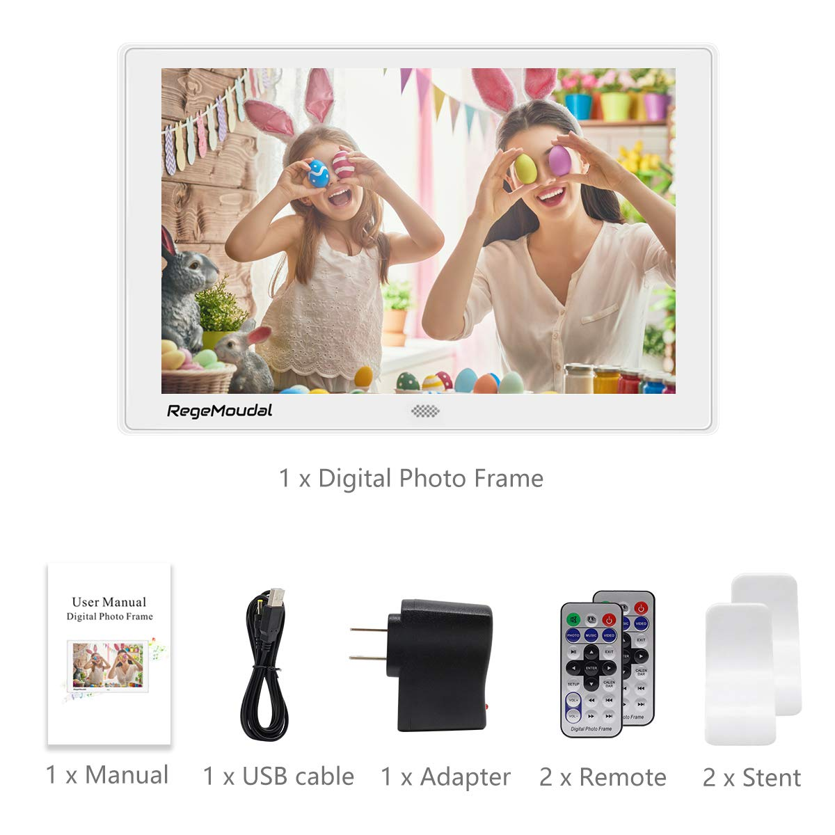 RegeMoudal/ Digital Frame with High Resolution 1280800 IPS LCD Panel Support 128G SD Card//USB Stick Various Display Modes 1080P Video//Photo//Calendar//Time//Music 10 Inch Digital Photo Frame
