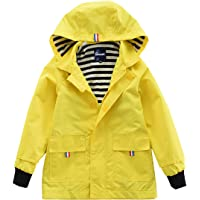 55353a475938 Hiheart Boys Girls Waterproof Hooded Jackets Cotton Lined Rain Jackets