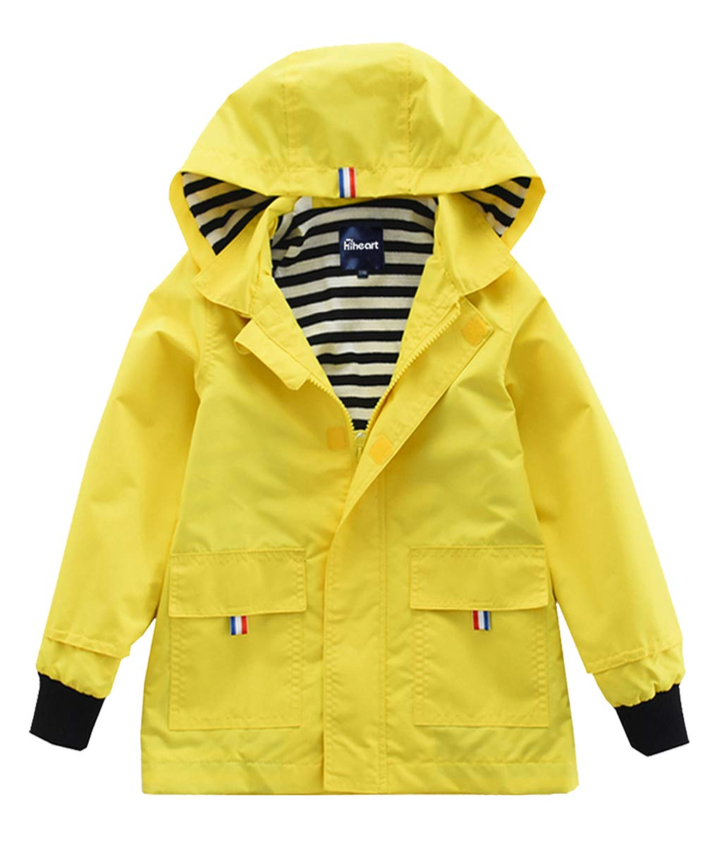 Hiheart Boys Waterproof Hooded Jackets Cotton Lined Rain Jackets (8/9, Yellow)