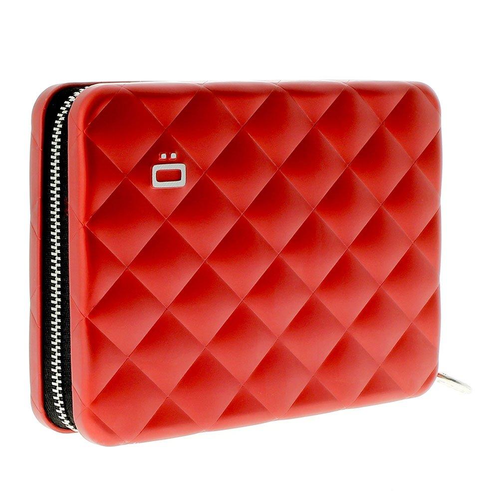 Ogon Quilted Passport Case Red Aluminum Wallet