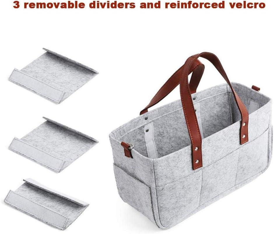 Portable Felt Nursery Storage Basket Tote Nappy Bin Car Travel Folding Organizer Wipes Nappy Changing Bag for Baby Girl Boy Molare Diaper Caddy Organizer
