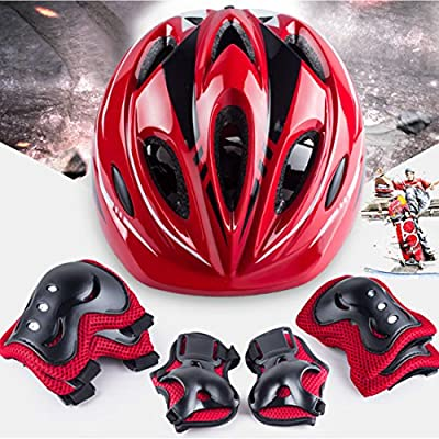 YIFAN Kids Bike Bicycle Helmet, Kids Protective Gear Set, Children Roller Skating Skateboard BMX Scooter Cycling (Knee Pads+Elbow Pads+Wrist Pads+Helmet) - Red : Sports & Outdoors