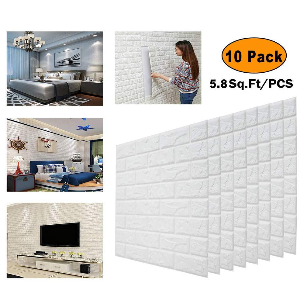 10 PCS 3Dウォールパネル27.5 x 30インチ、58平方フィートピールアンドスティック3Dウォールパネル、白レンガの質感の効果、リビングルーム用の包括的な壁紙 B07SW8WNFX