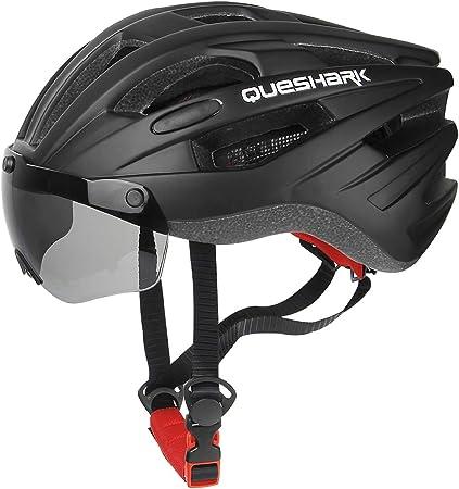 Queshark Casco Bicicleta con 2 Lente Magnética Protección de Seguridad Ajustable Casco de Bicicleta Ligera para Montar en Bicicleta Casco de Bicicleta ...