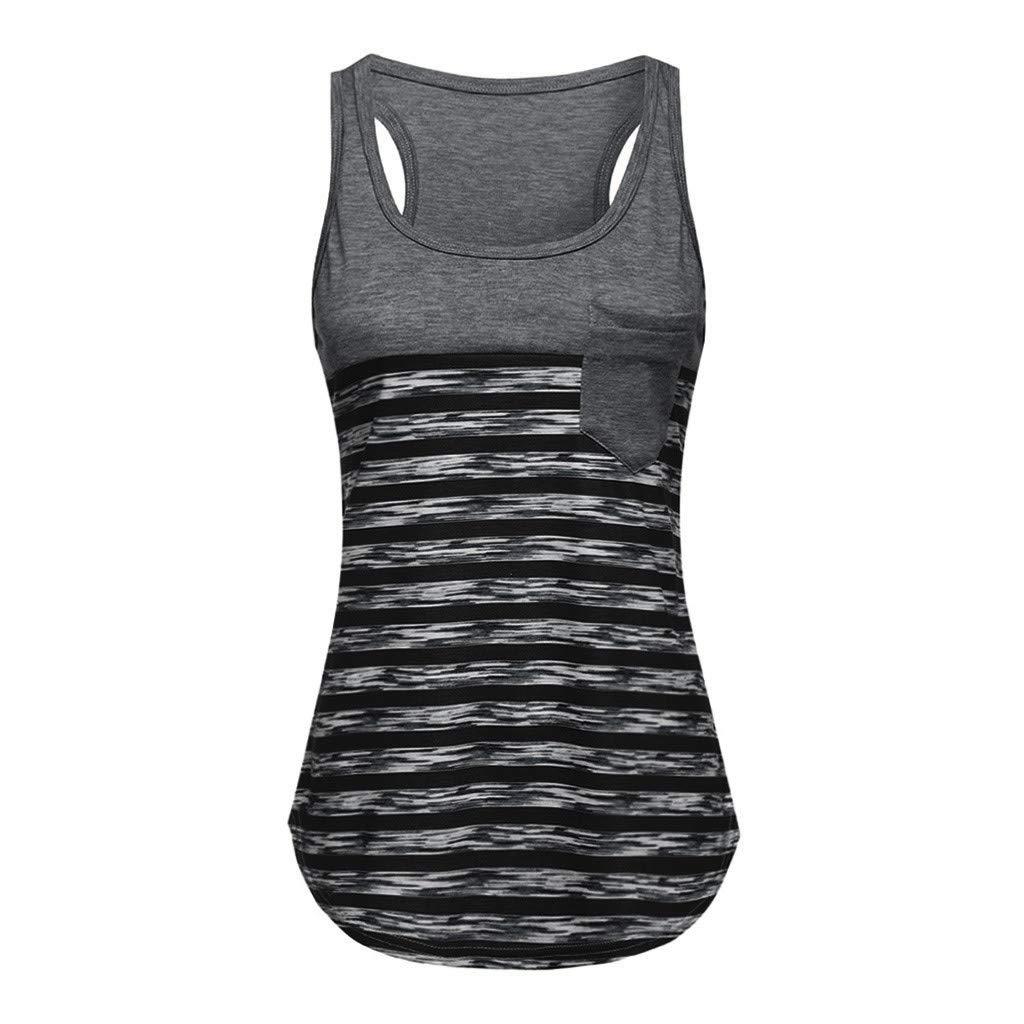 2f78a88da4c152 Anshinto Womens Striped Crochet Pocket Color Block Sleeveless T-Shirts  Racerback Tank Tops Camisole Blouse at Amazon Women s Clothing store