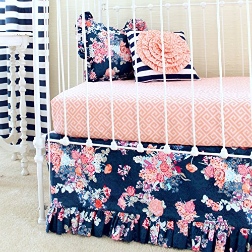 Girls Crib Bedding by Lottie Da Baby - Coral and Navy Floral Crib Set with Striped Accents 2-5pcs Navy Crib Skirt , Fitted Crib Sheet, Floral & Stripe Nursery Throw Pillows & Minky Baby Blanket